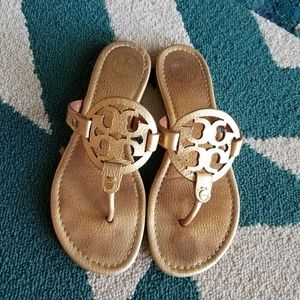 {Tory Burch} Gold Pebbled Leather Miller Sandals